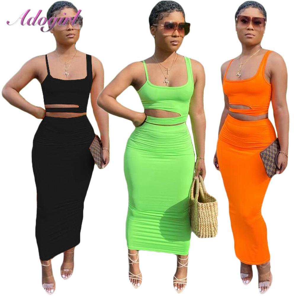 Conjunto de dos piezas de verano para mujer, vestido Casual liso sin espalda, Crop Tops + faldas, conjunto de trajes para mujer, Club nocturno fiesta, vestidos, chándal