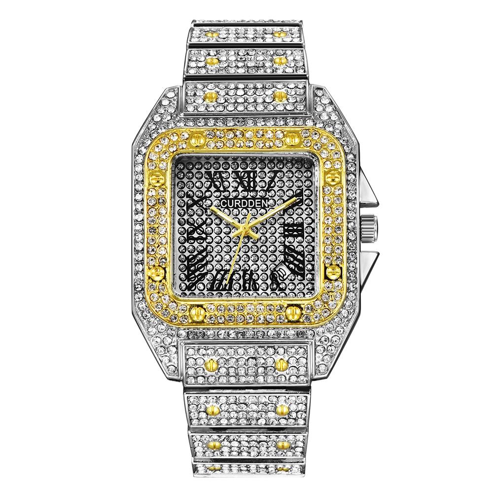 CURDDEN Luxury Brand Watches Mens Fashion Diamond Alloy Band Calendar Quartz Watch Gold Designer Watch Montres de Marque de Luxe