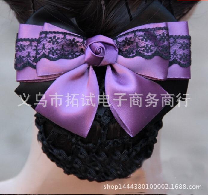 Lady headdress hair clip white collar stewardess nurse net bag bow hair net flower head flower ribbon lace gift fabric handmade