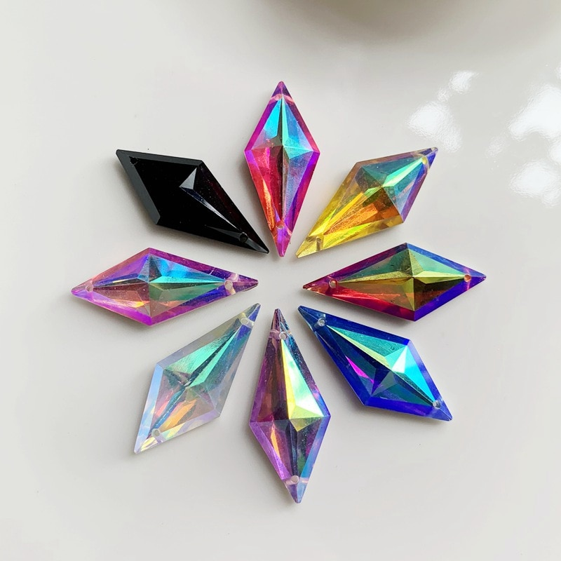 20 Uds. De resina de rombo de cristal brillante de 12x28mm para coser en diamantes de imitación cuentas de costura con fondo plano 2 agujeros diy accesorios de ropa-E61