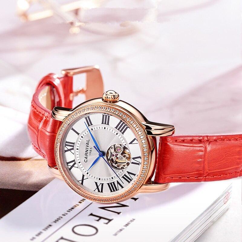 CARNIVAL Brand Ladies Fashion Rose Gold Automatic Watch Woman Luxury Waterproof Hollow Mechanical Wristwatch Relogio Feminino enlarge