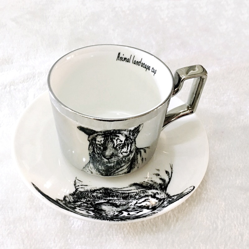 Colección de espejo, taza de reflexión Animal, taza anamorfa de leopardo, taza de gato de dibujos animados, taza de panda de hueso de lujo de Tigre, taza de panda