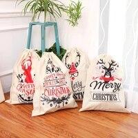 2021 new large printed linen backpack beam mouth christmas gift bag candy bag christmas apple bag decoration