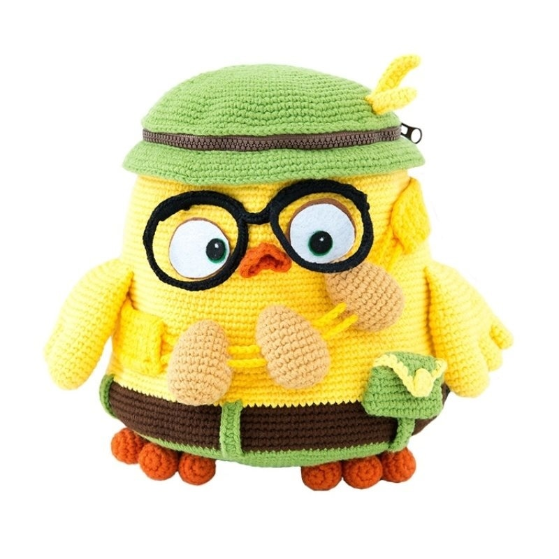 Knitting double shoulder bag made of wool small yellow man backpack children's schoolbag travel bag cartoon bag hand crocheted