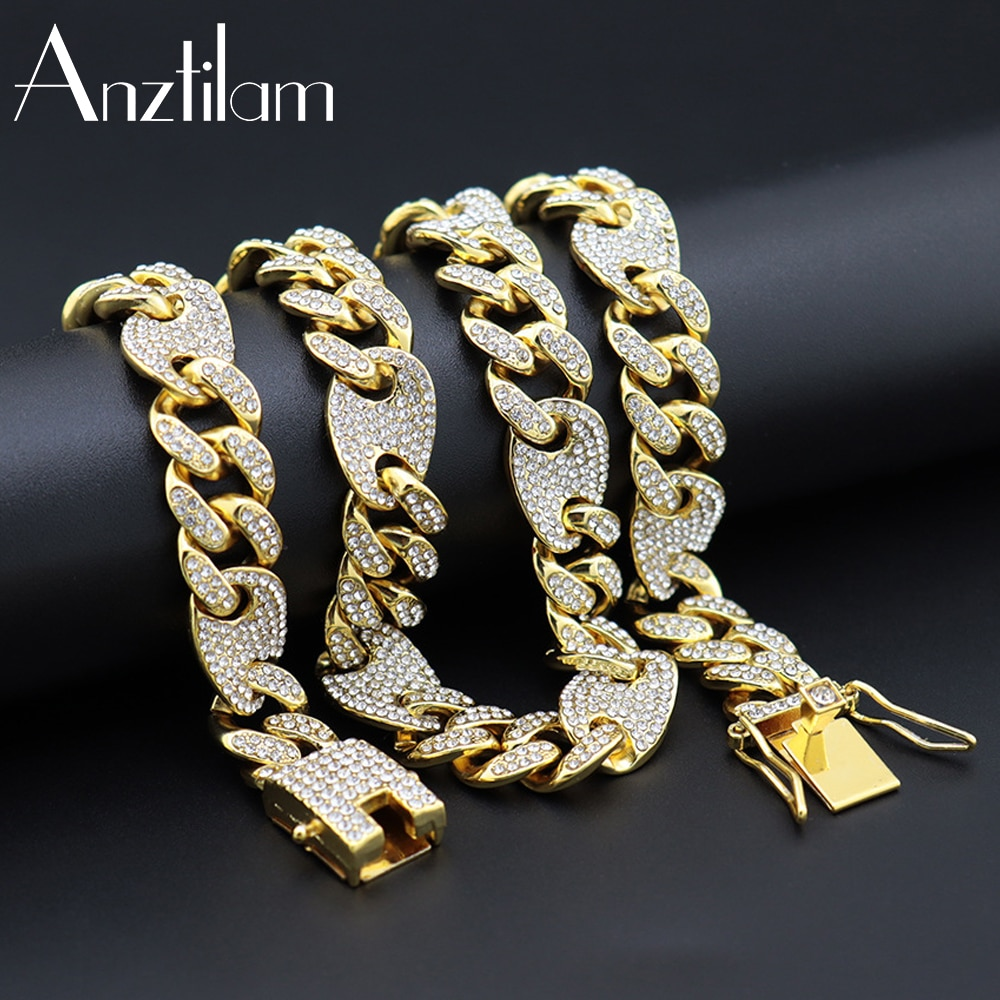 13mm HIP HOP Bling Iced Out Coffee Bean Chain Necklace Pig Nose Choker  Long Link Rhinestone Chain Necklaces For Men Roc Jewelry
