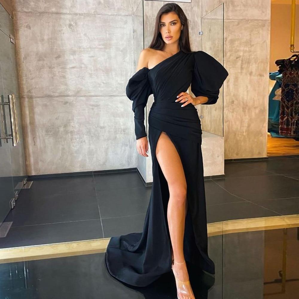 One-Shoulder Mermaid Evening Dress Long 2021 Women Black Elegant Side Split Ball Gowns Simple Vintage Celebrity robes de soirée