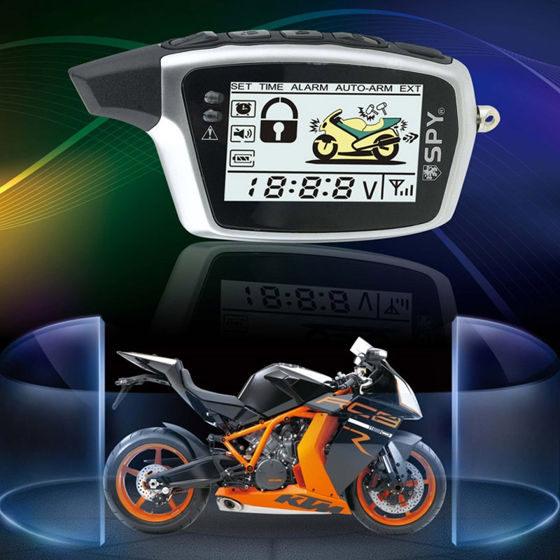 SPY anti-hijacking LCD two way motorcycle alarm system with microwave sensor for DC motorcycle