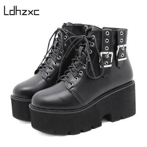 LDHZXC Ankle Boots Thick Bottom Comfortable Lacing Womens Boots winter Platform Wedges Fashion Buckle Black Gothic Chunky