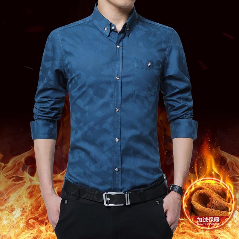 iRicheraf Winter Warm printing Shirt Plus Velvet Thickening Men Shirts Long Sleeve Mens Dress M-5XL Camisa Masculina
