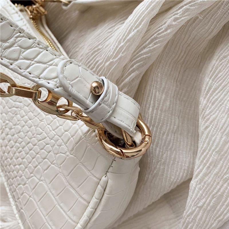 Bolso de mano de piel sintética para mujer con diseño de cocodrilo a la moda, bolso de hombro femenino X7XC