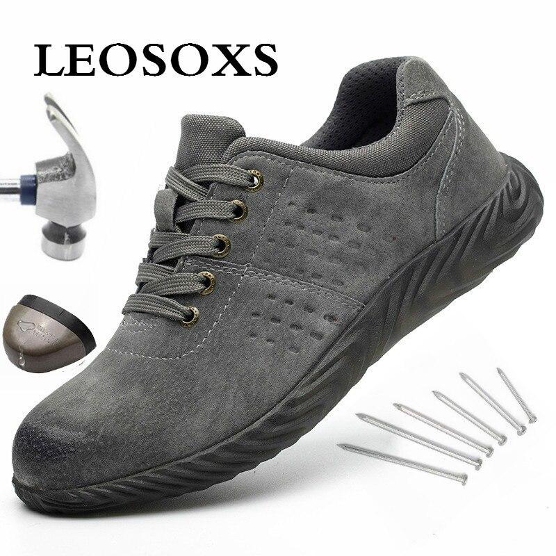 Leoxosewaterproof botas de inverno com pele quente botas de neve botas de trabalho masculino sapatos casuais tênis à prova de punção botas de proteção