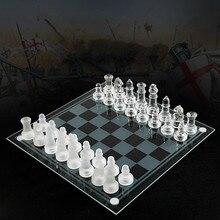 Szklana szachownica wysokiej jakości anty-złamane eleganckie szkło szachy gra w szachy szachy gra w szachy duże rozmiary 35CM