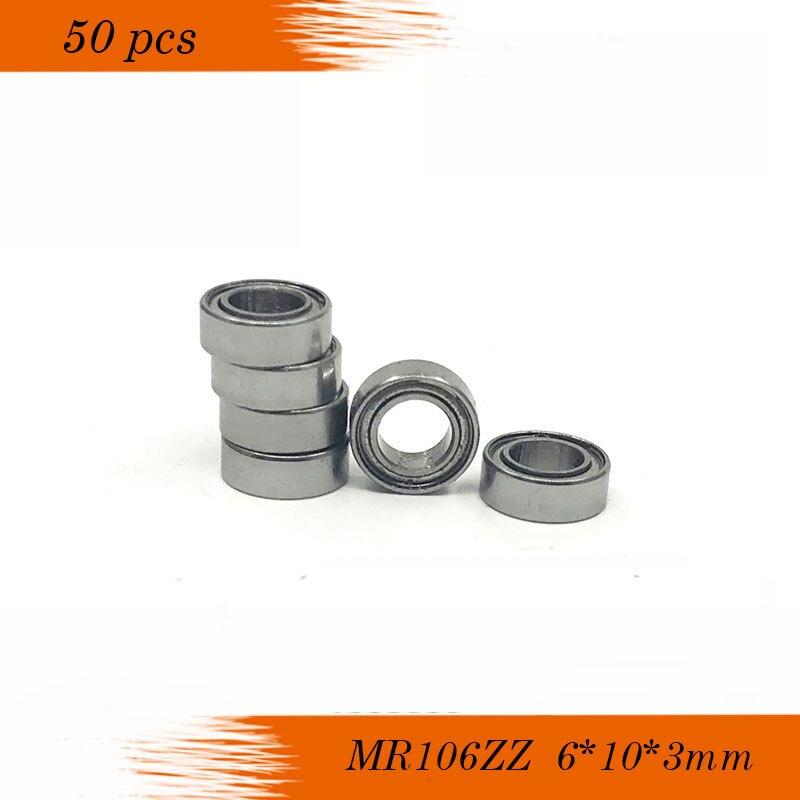 50 unids/lote MR106ZZ MR106 ZZ 6x10x3mm P6 ABEC-3Thin pared rodamiento rígido de bolas Mini Bola de rodamiento en miniatura