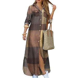 Dress Women Fashion Long Sleeve Printed Pockets Buttons Party Beach Maxi Shirt Dress Long Sleeve Dress Maxi Dresses for Women