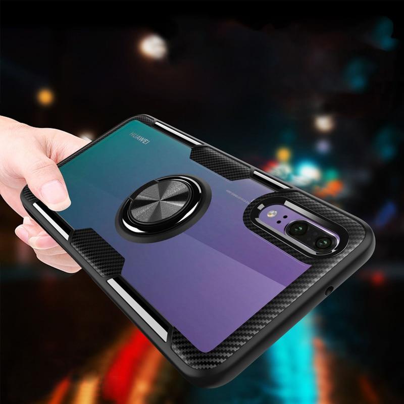 Soporte Invisible para Huawei P30 Mate 20 Pro Lite P20 Honor 8X 10 9 Plus Play Nova 3e 4e funda acrílica transparente con imán
