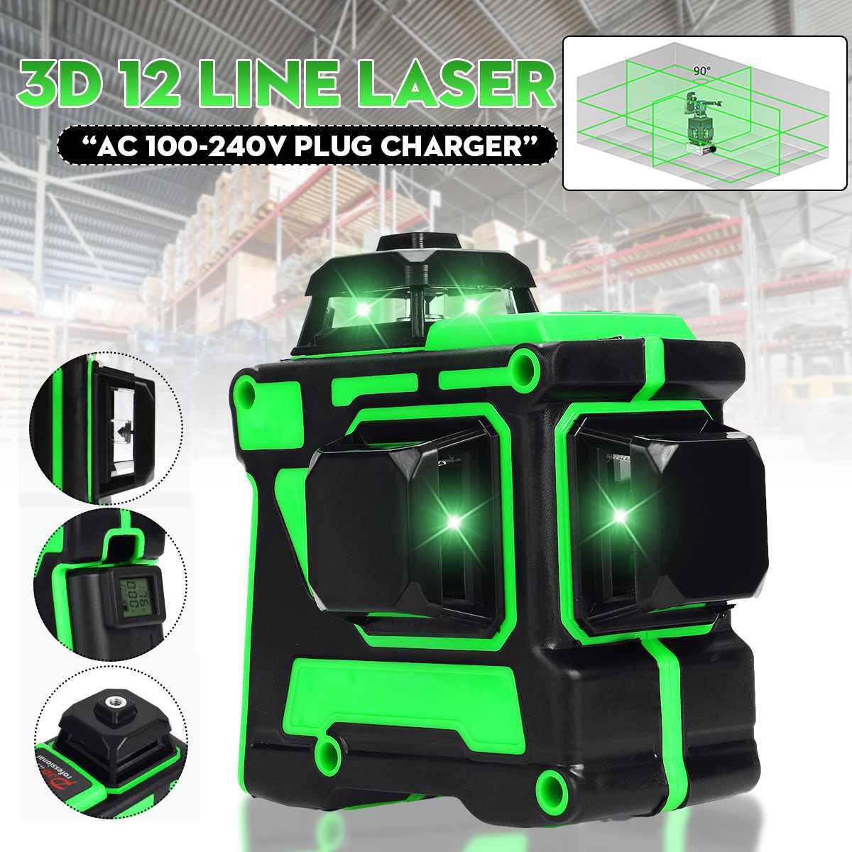 ZEAST ليزر مستوى ثلاثية الأبعاد 12 خطوط قوية الضوء الأخضر شاشة ديجيتال 360 درجة أفقي عمودي الذاتي التسوية نظام قياس أدوات