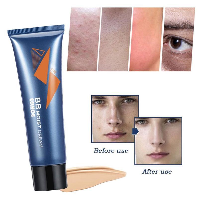 Crema BB correctora Natural para hombres, crema hidratante para blanqueamiento base desnuda maquillaje cara belleza para hombres cuidado de la piel BB