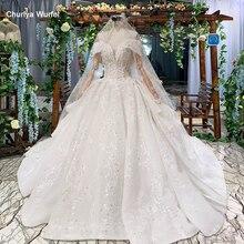 HTL822 chérie robes de mariée long train appliques dentelle robes de mariée robe de bal avec voile robes de novia 11.11 promotion