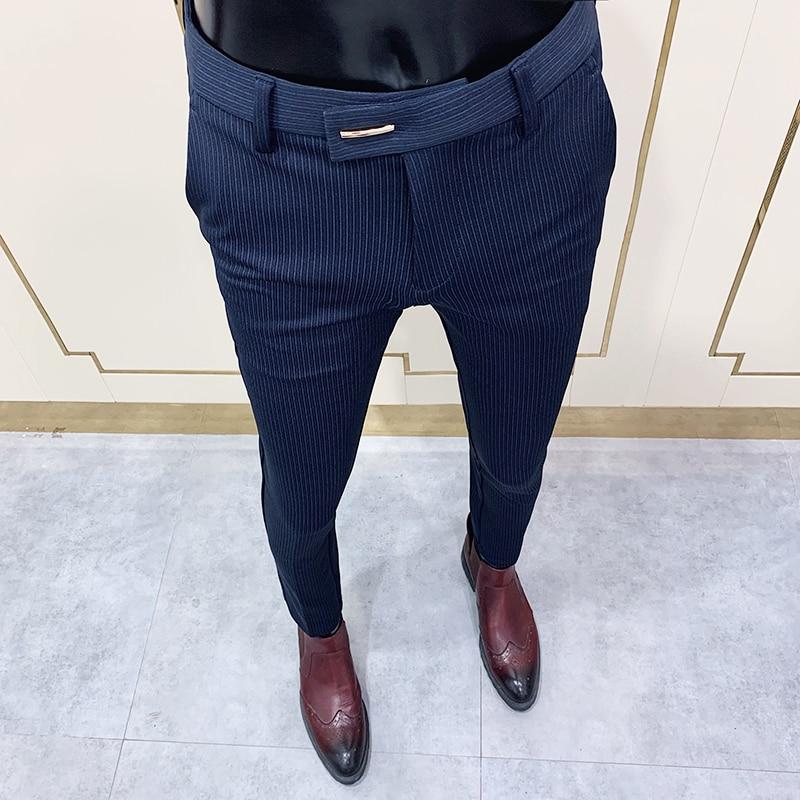 2021 Брендовые мужские серые деловые Костюмные брюки, повседневные формальные мужские строгие брюки, весенние брюки, костюм приталенного сил...