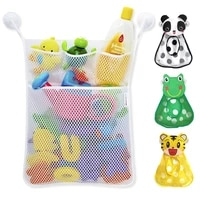new baby bathroom mesh bag sucker design for bath toys kids basket cute cartoon animal shapes cloth sand toys storage net bag