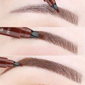 5 Colors Eyebrow Pen Waterproof 4 Fork Tip Eyebrow Tattoo Pencil Cosmetic Long Lasting Natural Dark Brown Liquid Eye Brow Pencil
