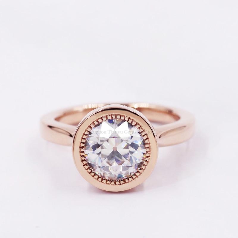 Tianyu-خاتم زواج من الذهب المويسانتي للنساء ، مرصع بالأحجار الكريمة المستديرة ، 14k/18k/PT950 ، 7.5 مللي متر ، مجوهرات مخصصة