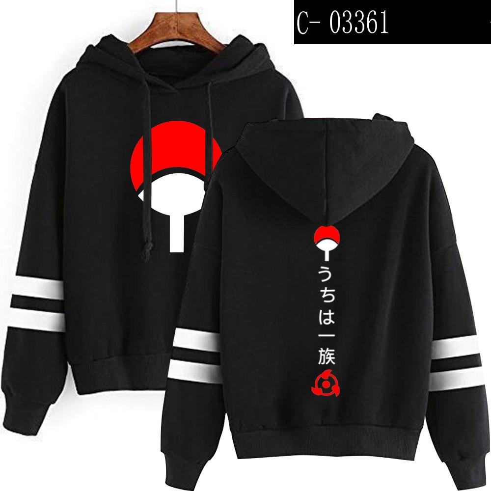 New Fashion Naruto Hooded Sweatshirt Lovers Autumn Long Sleeves Harajuku Striped Hoodie Uchiha Sasuke Clothes Second Yuan Jacket