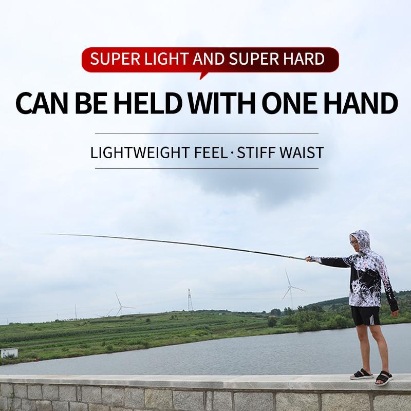 Hand pole carbon super hard light 8/9/10/11/12/13/14m holster rod ultra light rod  telescopic fishing rod enlarge