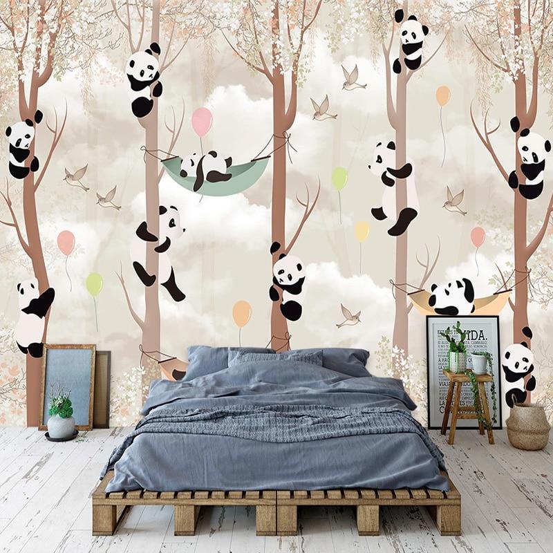 3D фото абстрактное дерево мультфильм панда птица гостиная детская комната спальня фон Настенные обои настенная живопись Домашний декор