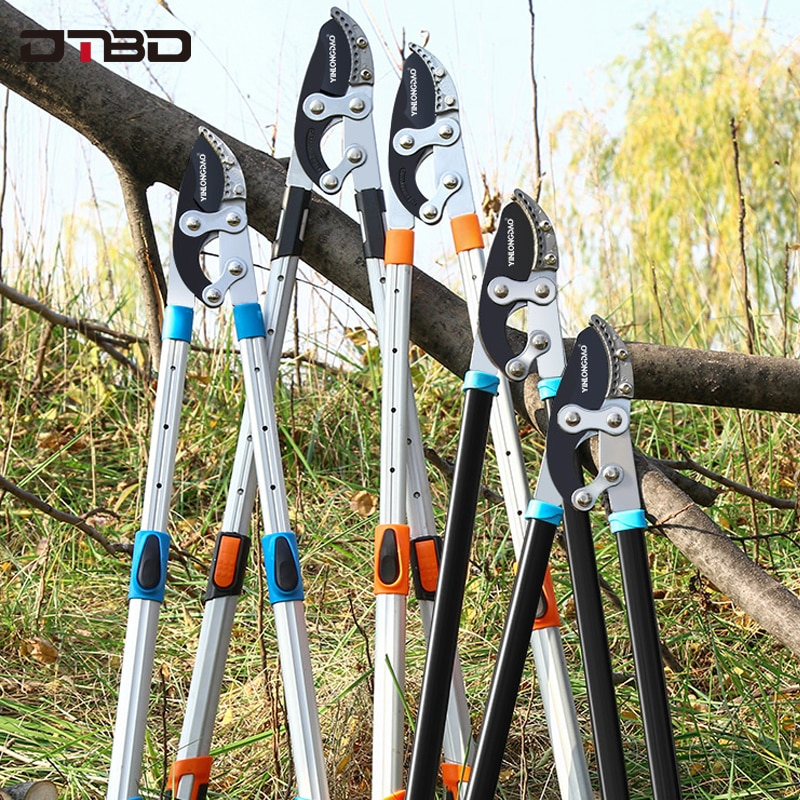 Sodo medžių genėjimo žirklės aukštų šakų genėjimo įrankiu ilgai pasiekia aliuminio rankeną, vaisių peilių rinktuvą, sodo įrankius