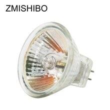 ZMISHIBO 10 pièces/lot MR16 GU5.3 ampoule halogène 12V 20W 35W 50W 220V JCDR 50MM verre clair Dimmable spots blanc chaud 2700K