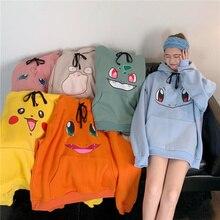 Amina Pokemon sudaderas para mujer Hip Hop sudadera niñas Harajuku manga larga Japón sudadera Streetwear de dibujos animados lindo Sudadera con capucha hombres mujeres