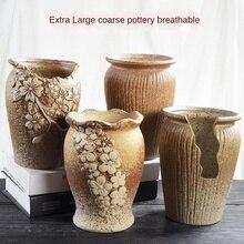 Flower Pot Large Extra Large Old Pile High Pot Retro Breathable Creative Simple Clay Pot Stoneware Ceramic Fleshy Flower Pot