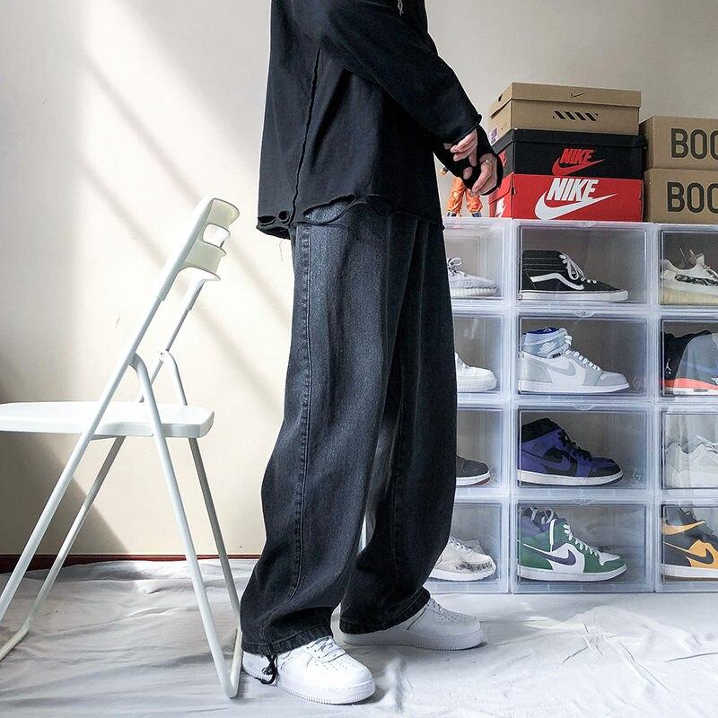 Новинка 2021, мужские свободные черные/синие прямые брюки, однотонные повседневные брюки, мешковатые мужские джинсы-карго с карманами, байкер...