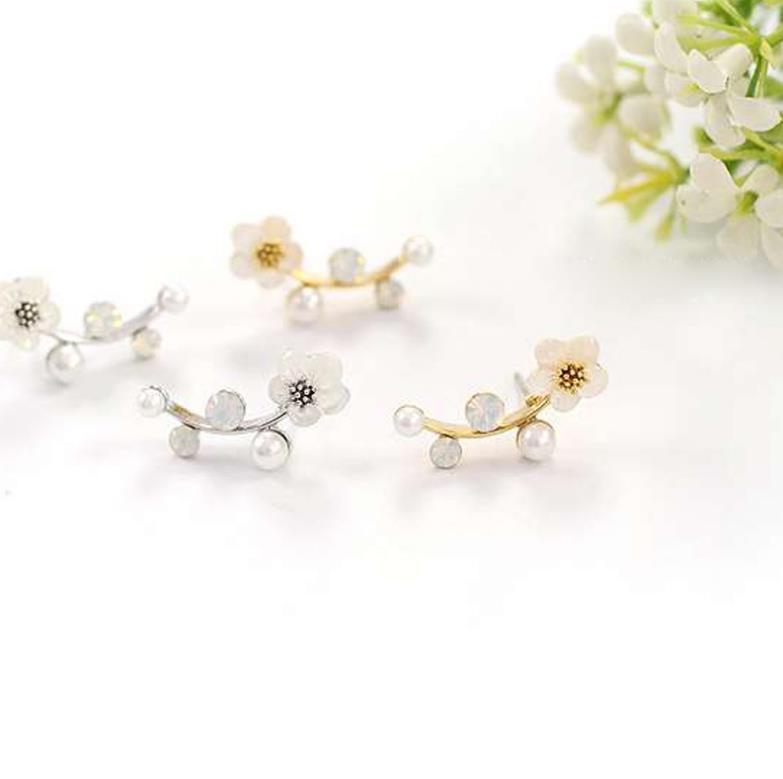 Pendientes de perlas de pétalos de moda de Corea del Sur