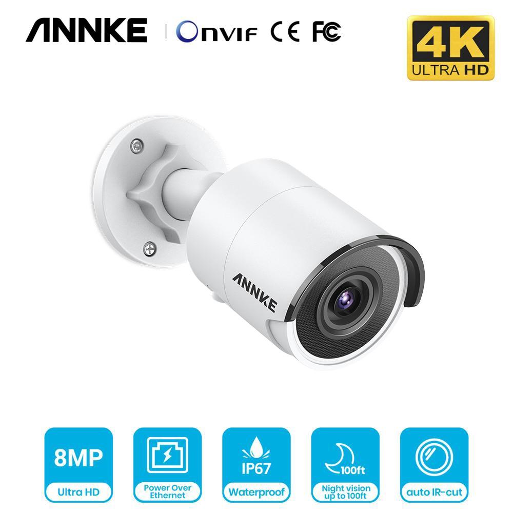 Annke 1 pçs ultra hd 8mp poe câmera 4 k ao ar livre indoor à prova de intempéries segurança rede bala exir night vision e-mail alerta cctv kit