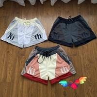 2021 KITH MESH SHORTS Summer Men Women 1:1 High Quality Patchwork Kith Shorts Oversize Casual Letter Logo Breechcloth Drawstring