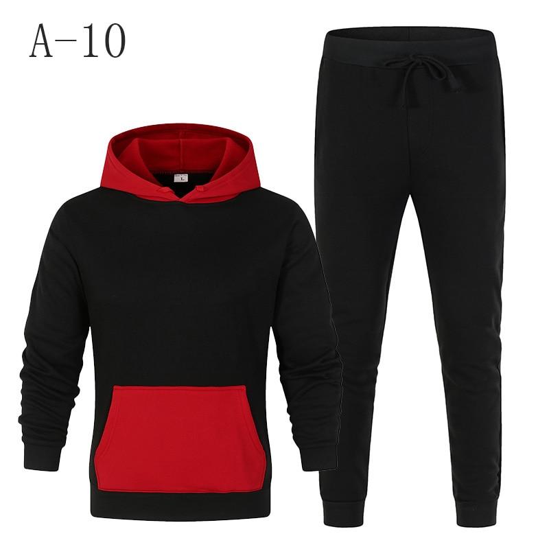 2020 Tracksuit Men Fashion Men's Sportswear Color Splice Hoodie Vetement Homme Jogging Homme Tracksuit 2-Piece Hooded Sweatshirt