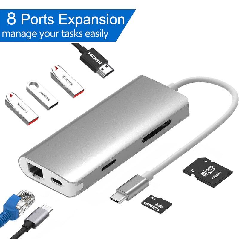 8 في 1 USB 3.0 Hub ل محول الكمبيوتر المحمول جهاز كمبيوتر شخصي PD تهمة 8 منافذ قاعدة لتثبيت الكمبيوتر المحمول RJ45 HDMI TF/SD بطاقة دفتر نوع C الخائن