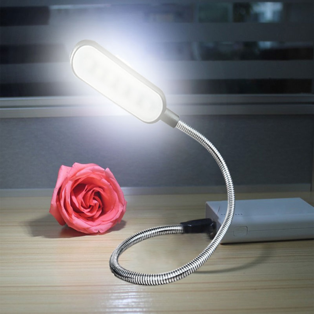 Flexible USB LED Desk Lamps 360 Degree DC 5V Portable Adjustable Table Lamp 6 LEDs Reading Book Ligh