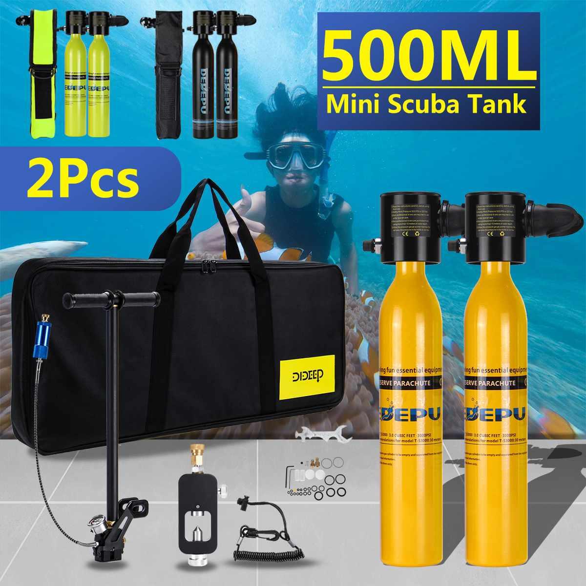 500ml Diving System Mini Scuba Cylinder Scuba Oxygen Reserve A.ir Tank Pump Aluminum Box Snorkeling Diving Equipment Set
