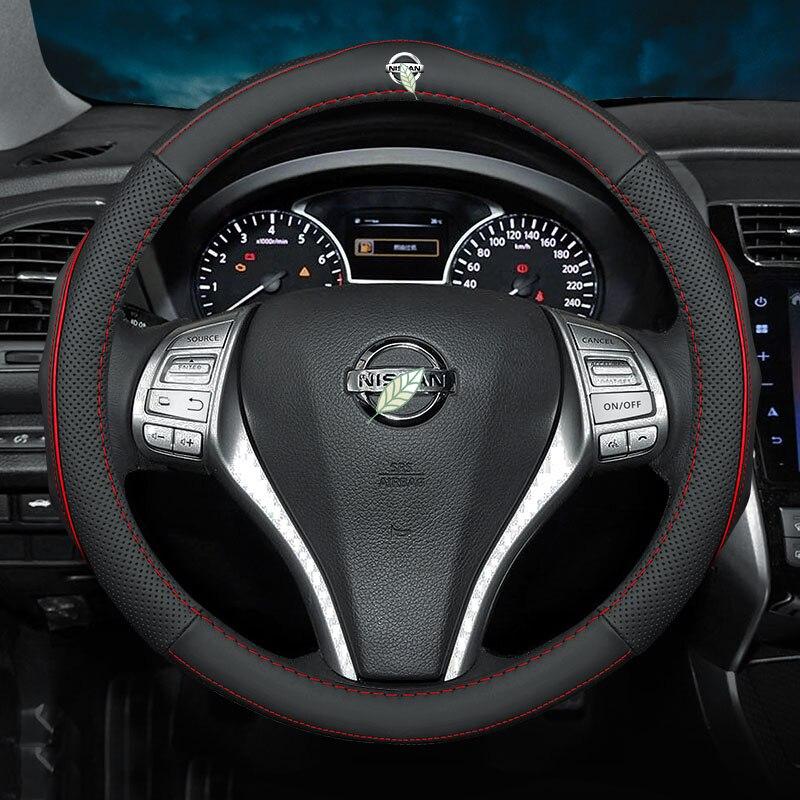 Cubiertas de volante de cuero genuino sin olor para Nissan nismo Almera TIIDA Livina Navara Serena XTrail Accesorios