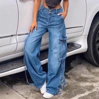 y2k straight cargo jeans wrap button retro denim pants ruched drawstring women denim trousers street indie aesthetic jean