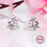 hot original 925 sterling silver earrings daisy cherry blossom earrings fashionable earring for women gift jewelry