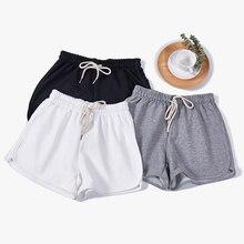 Solid Breathable Shorts Women Thin Beach Female Balck White Loose Drawstring Belt Cotton Plus Size Slim High Waist Shorts Female