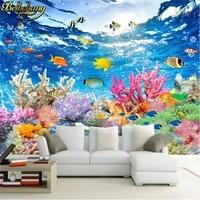 beibehang custom photo wallpaper underwater world marine fish living room childrens room tv background 3d mural wall paper roll