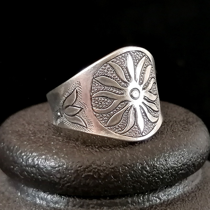 Vintage Punk 9999 Sterling Silver Ring Men Steampunk Sun Big Boho Unisex Rings Antique Adjustable Handmade Luxury Jewelry Gothic