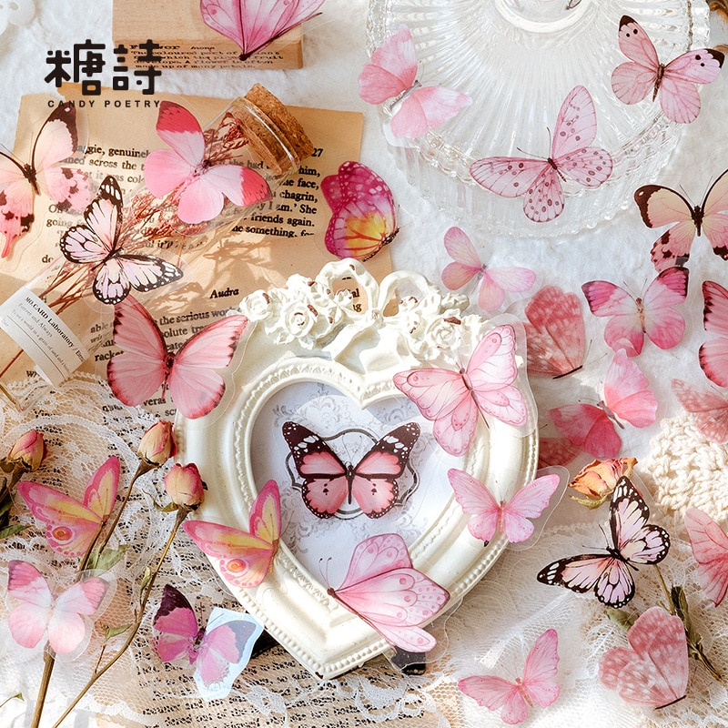 40 листов/упаковка, наклейки-бабочки для домашних животных