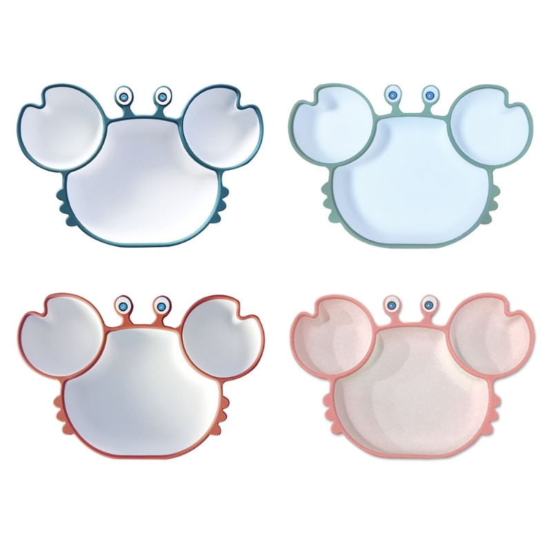 Cartoon Crab Baby Silicone Training Bowl Divided Sucker Non-slip Dinner Plate Dishes Infant Learning Feeding Tray