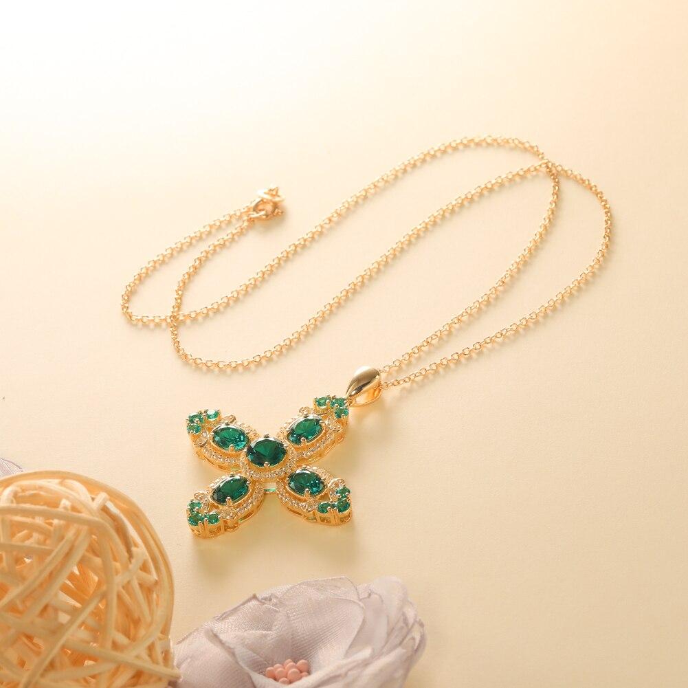 GZ ZONGFA Luxury Custom Green big Gemstone Vintage Jewelry 925 Sterling Silver Women cross summer Pendant Necklace